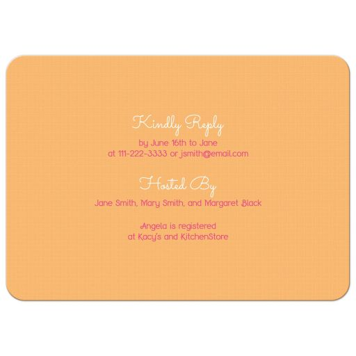 Pink gerber daisy and orange plaid ribbon country bridal shower invitation back