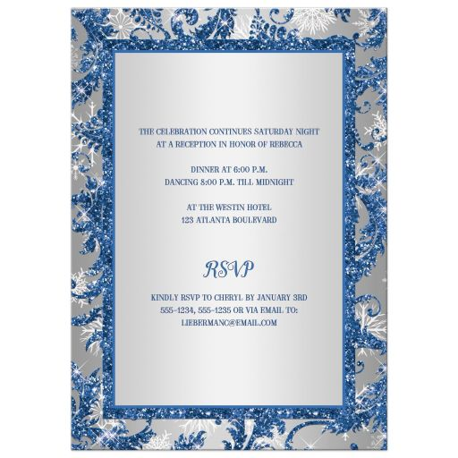 Royal blue, silver, white snowflakes Bat Mitzvah invitation with Jewish Star
