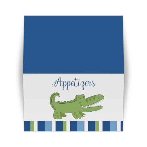 Alligator Blue and Green Stripe Place Card