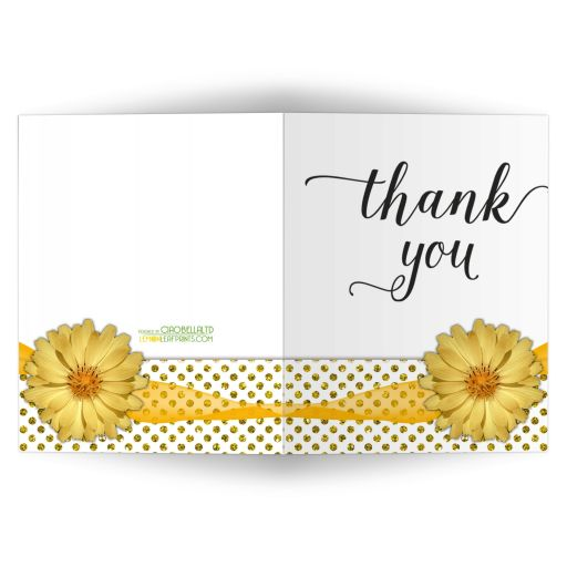 Yellow Mum With Sparkly Glitter Polka Dots Thank You Card