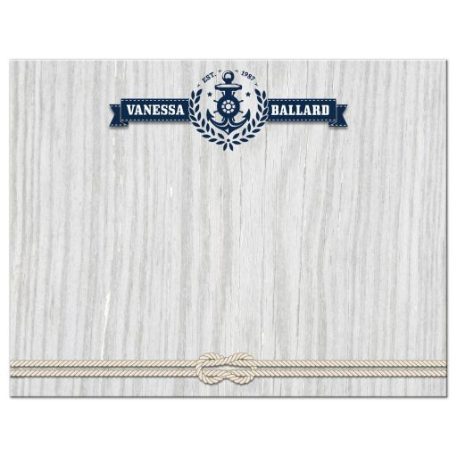 Personal Flat Note Card - Nautical Rustic Weathered Wood