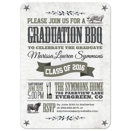 Graduation Party Invitation - Rustic BBQ Pig and Cow Gray