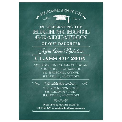 Graduation Party Invitation - Aqua Chalkboard and Mortarboard Decorative