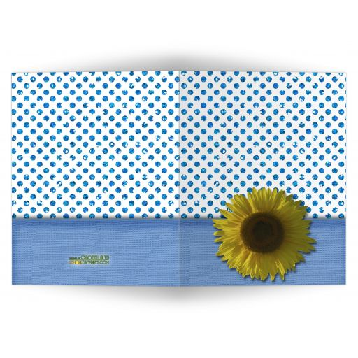 Blue Sparkly Glitter Polka Dots With Sunflower Blank Note Card