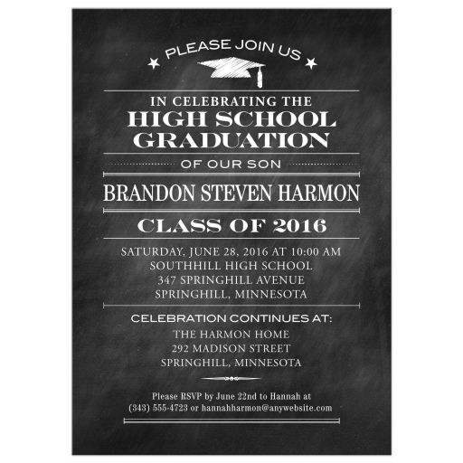 Graduation Party Invitation - Black Chalkboard and Mortarboard Simple Stars
