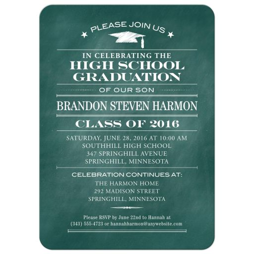 Graduation Party Invitation - Aqua Chalkboard and Mortarboard Simple Stars