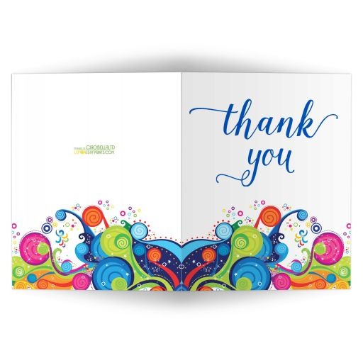 funky abstract pattern blank thank you card