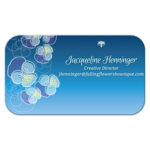 Business Card - Falling Pansy Flowers Blue Ombre