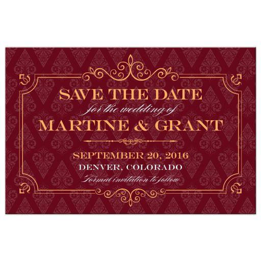 Save the Date Postcard - Elegant Orange Frame Maroon Damask