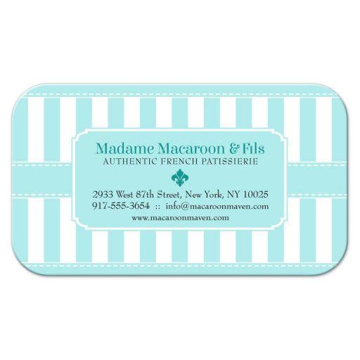 Business Card - Pastel Blue Patisserie Bakery Stripes
