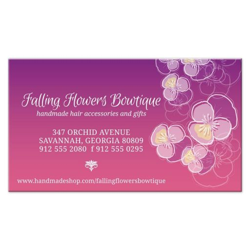 Business Card - Falling Pansy Flowers Purple Pink Ombre