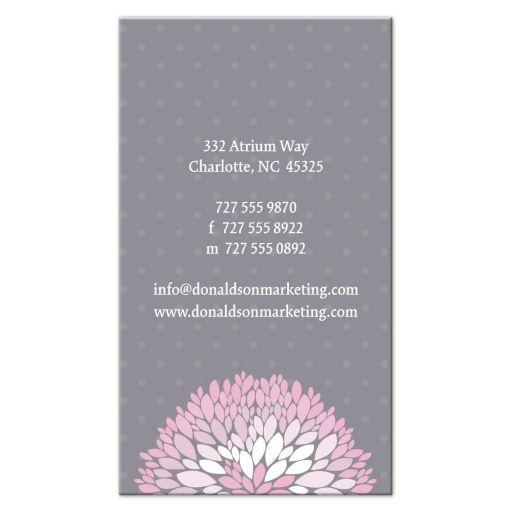 Business Card - Pink Chrysanthemum on Grey