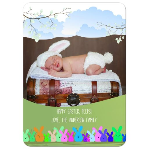 Happy Easter Peeps Whimsical Easter Photo Card