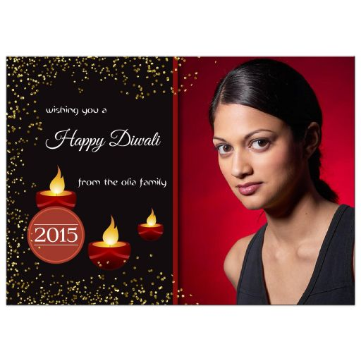 Elegant Happy Diwali Photo Template Greeting Card
