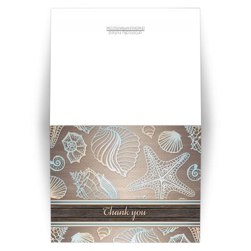 Thank You Cards - Rustic Wood Beach Seashell