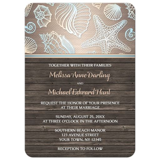 Wedding Invitations - Rustic Wood Beach Seashell