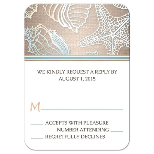 RSVP Reply Cards - Rustic Beach Seashell