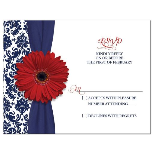 Red gerber daisy navy blue damask floral and ribbon patriotic military wedding RSVP reply card
