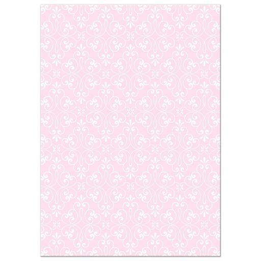 Pale pink and white ornate damask pattern, back of First Holy Communion or confirmation invitation for girls.