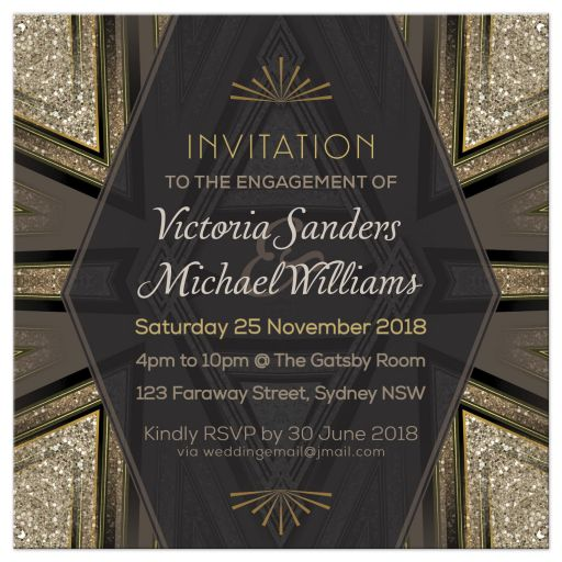 Art Deco Goldy Engagement Party Invitation