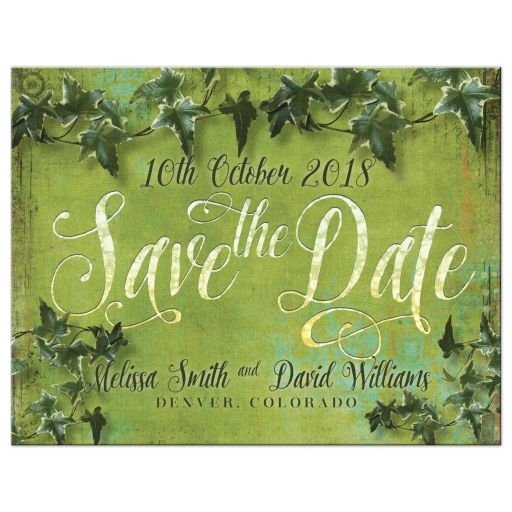 Green Ivy Vine Wedding Save the Date Postcard