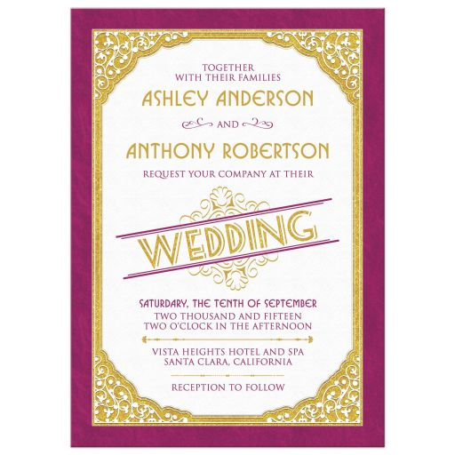 Merlot and gold vintage typography art deco inspired wedding invitation front