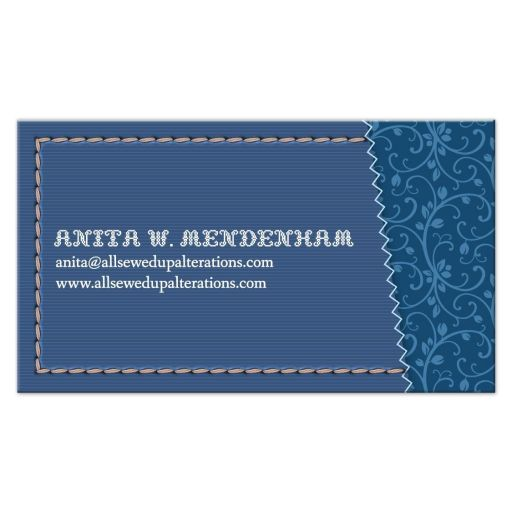 Business Card- Blue Sewing Needle Stitched
