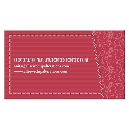 Business Card - Red Sewing Needle Stitched