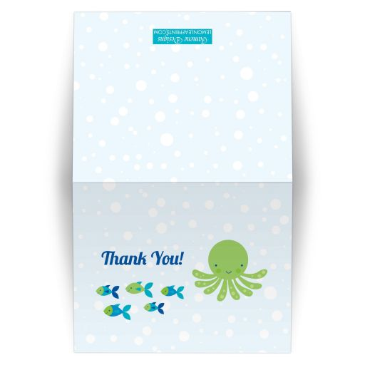 Under the sea boy's birthday party thank you card