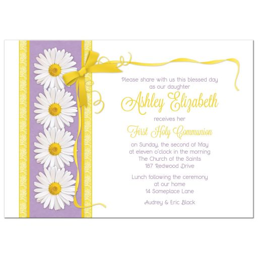 Daisy purple and gold ribbon and bow First Holy Communion invitation front