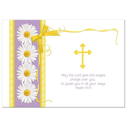 Daisy purple and gold ribbon and bow First Holy Communion invitation back