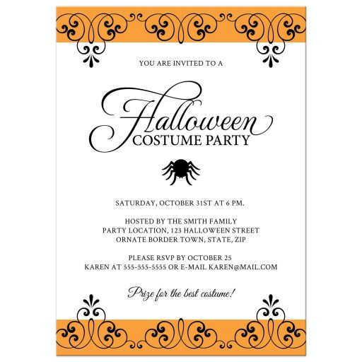 Elegant Halloween costume party invitation with spider and black and orange, ornate borders.