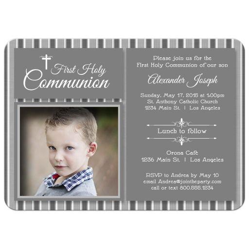 Modern Silver Striped First Communion Invitation Photo Template