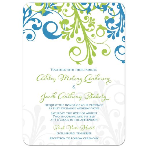 ​Cerulean blue and lime green modern abstract floral wedding invitation front