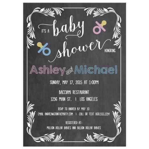Trendy Chalkboard Scrollwork Frame Typography Baby Shower Invitation