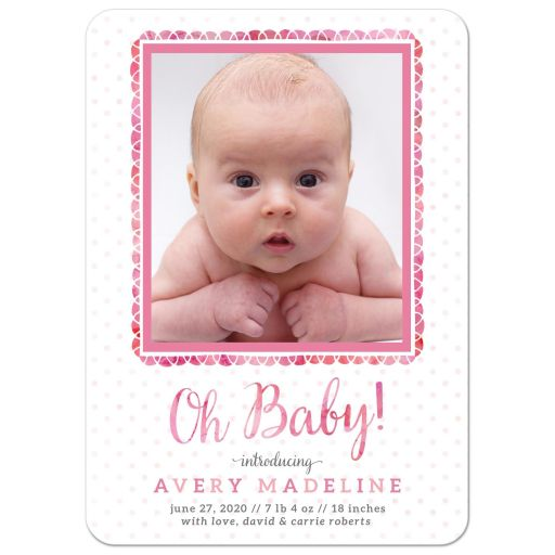 Oh Baby Fun Frame Birth Announcements front