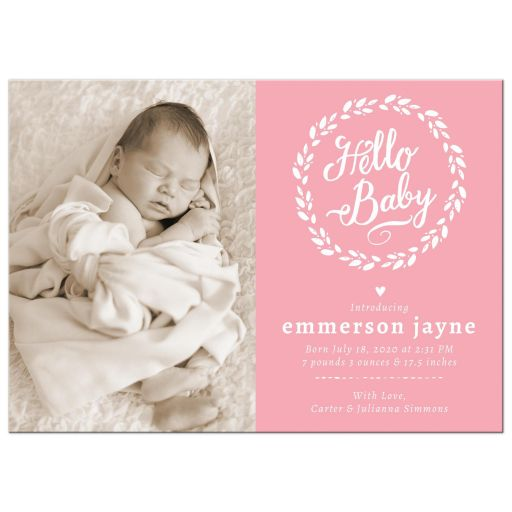 Hello Baby Wreath Birth Announcements front