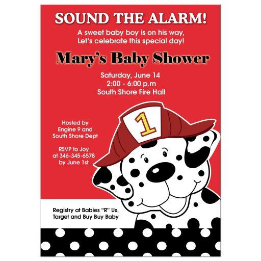 Dalmatian Fireman Baby Shower Invitations
