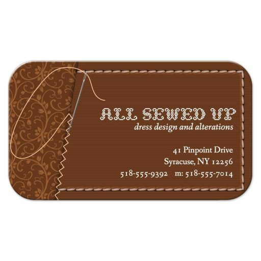 Business Card - Brown Sewing Needle Stitched