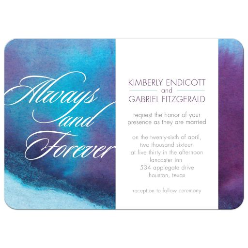 Wedding Invitation - Always and Forever Blue Purple Watercolor Wash