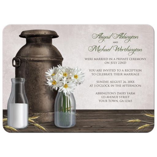Reception Only Invitations - Rustic Country Dairy Farm