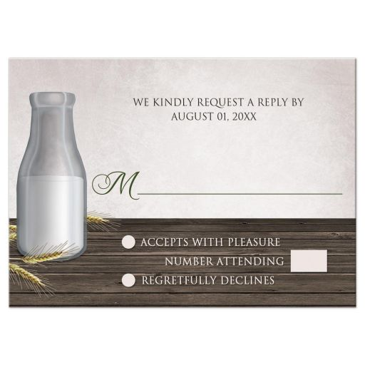RSVP Reply Cards - Rustic Country Dairy Farm