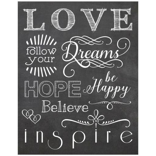 11x14 Chalkboard With Modern Typography About Inspiration And Love