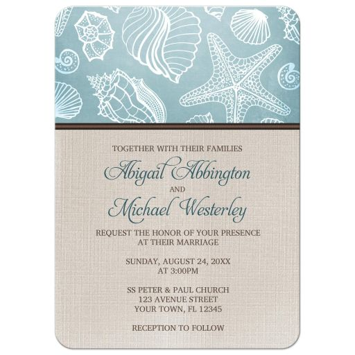 Wedding Invitations - Rustic Beach Seashells Linen