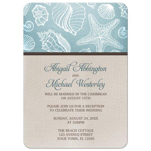 Reception Only Invitations - Rustic Beach Seashells Linen