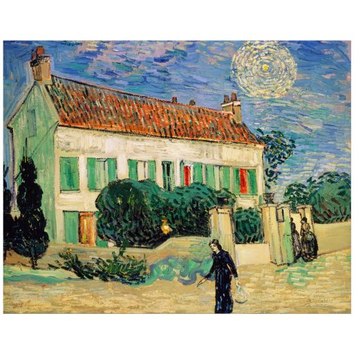11x14 Wall Art Featuring Van Gogh's White House at Night