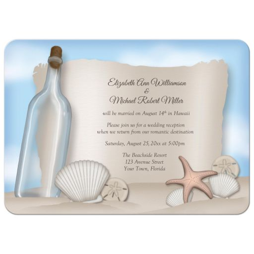 Reception Only Invitations - Beach Message from a Bottle