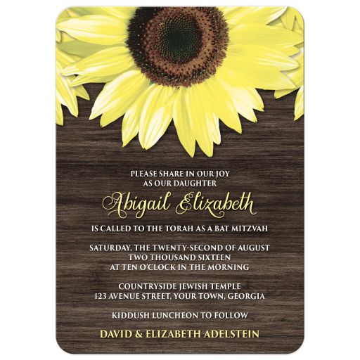 Bat Mitzvah Invitations - Rustic Sunflower and Wood
