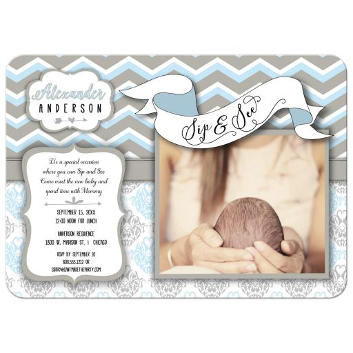 Blue Chevron Sip And See New Baby Boy Photo Template Invitation