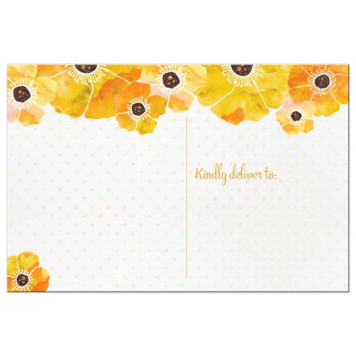 Yellow Watercolor Floral Thank You Postcards back